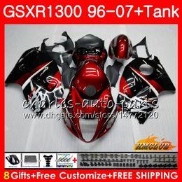 Body For SUZUKI Hayabusa GSXR 1300 GSXR1300 96 02 03 04 05 06 07 dark red blk 24HC.7 GSX R1300 1996 2002 2003 2004 2005 2006 2007 Fairing