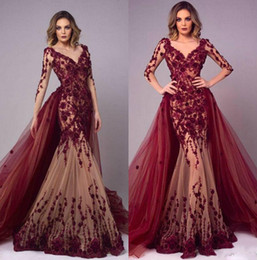 2020 Arabic Burgundy Mermaid Long Sleeves Evening Dresses With Overskirts V Neck Prom Dress Lace Appliqued Floor Length Party Gowns custom