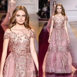 2019 Zuhair Murad Lace Appliques Evening Dresses With Short Sleeves Sheer Jewel Neck Beaded Prom Gowns Floor Length A-Line Evening Dress