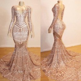 2019 V Neck Long Sleeve Sequin Mermaid Long Prom Dresses Rose Gold Backless Gorgeous Sweep Train Evening Pageant Gowns BC0841
