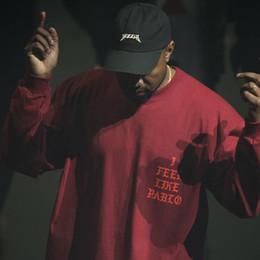 I Feel Like Pablo Tee Men's Long Sleeve Red 100% Cotton T-Shirt Kanye West Men Women Skateboard Shirt Hip Hop Clubwear YYG1011