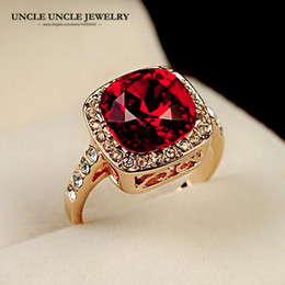Rose Gold Color Royal Design Square Red Crystal Luxury Woman Finger Ring Wholesale Drop Ship Fashion Jewelry