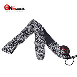 New the Leopard Pattern Metal Buckle Adjuster Adjustable Leather Acoustic Guitar Strap Bass