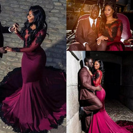 Arabic Sexy Burgundy Prom Dresses 2019 for Black Girls Appliques Sequins Open Back Illusion Long Sleeves Mermaid Evening Party Gowns BA7819