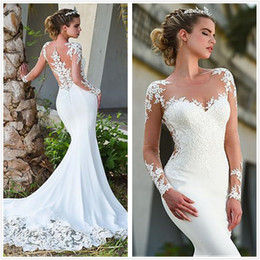 Sheer Long Sleeves Satin Mermaid Wedding Dresses 2020 Tulle Lace Applique Sweep Train Wedding Bridal Gowns With Buttons robes de mariée