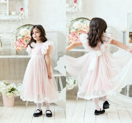 Blush Pink Cute Flower Girl Dresses Lace Appliqued Tulle Tea-Length Kids Birthday Party Gowns Birthday Girl Formal Wedding Dresses