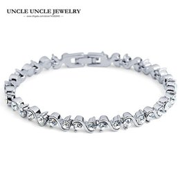White Gold Color Sparkly 36 pcs Clear Zirconia Fully Studded Rome Style Strand Women Tennis Bracelet Wholesale Christmas Gift