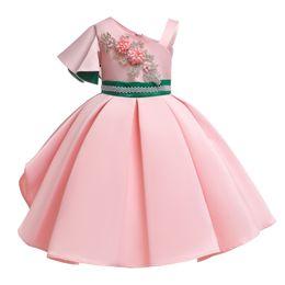 Retail Girl embroidered dress one-shoulder beading flower girls dresses baby kids luxury designer party princess wedding dress boutique