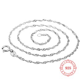 Hot Selling thick real 925 sterling silver water wave shape chains Italy fashion high quality necklace jewelry