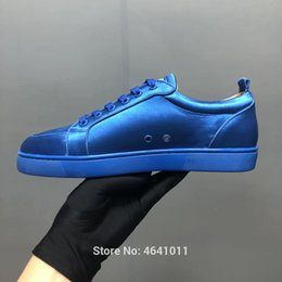Lace-Up cl andgz trend patent leather red bottoms low-Cut For Men shoes  Blue Velvet Rivet casual shoe couple models Flat Loafers 6a215890260d