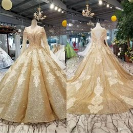 Gold Sequins Ball Gown Wedding Dresses Luxury Dubai Royal Appliques Tassels Formal Bridal Gown Plus Size Vestido De Noiva Custom Made