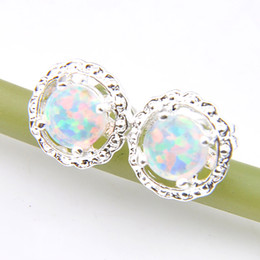 Wholesale 12 Pairs   Lot Fashion Jewelry Rose Round Fire Opal Gemstone 925 Sterling Silver Plated USA Stud Wedding Earrings E0339