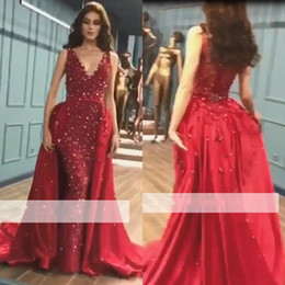 2019 V Neck Overskirts Mermaid Prom Dresses Sleeveless With Detachable Train Sequin Crystal Red Carpet Evening Gowns BC0423