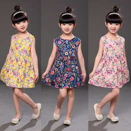 11 Colors Cheap Baby Girls Sleeveless Floral Princess Dress Clothing Children Fashion Printed Casual Cotton Dresses Kids Designer Clothes
