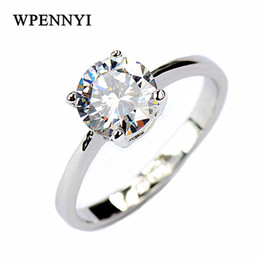 Classic Simple Square Wedding Rings Silver Color 4 Prong Sparkling 7mm 1.25ct Zirconia Engagement Wholesale Fashion Gifts