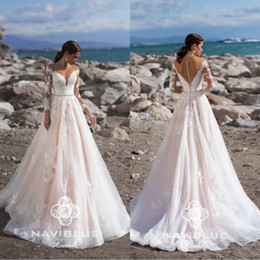 2020 Latest Naviblue Long Sleeves Wedding Dresses Sheer Crew Neck Covered BUttons Bridal Dress Lace Applique Plus Size Wedding Gowns