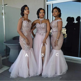 Long Mixed Style Appliques Off Shoulder Mermaid Prom Dress 2019 African Bridesmaid Dresses Split Side Maid Of Honor Dresses Evening Wear