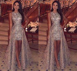 Sparkly Sequins Sheath Short Prom Dresses 2019 Jewel Neck Sleeveless Formal Party Evening Gowns With Detachable Overskirts BC1955