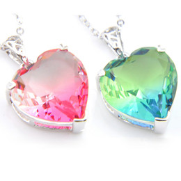 """Luckyshine Holiday Party Classic Lovely Heart Bi colored Tourmaline Gems 925 Silver Necklace For Woman Zircon Pendant Gift Jewelry 1"""" inch"""