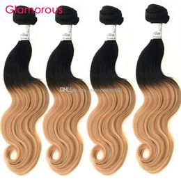 Glamorous Two Tones Brazilian Ombre Hair Extensions 4 Bundles Ombre Straight Human Hair Weave Peruvian Malaysian Indian Body Wave Human Hair