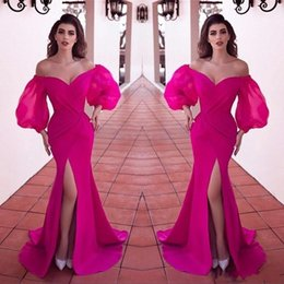 Sexy Fuchsia Front Split Side Long Prom Dresses Long Off Shoulder Ruffles Sweep Train Formal Evening Party Gowns robe de soiree