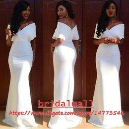 Elegant 2019 White Aso Ebi Evening Dresses Mermaid Cap Sleeves Floor Length Long Prom Dress Evening Wear Plus Size Formal Gowns Zipper Back