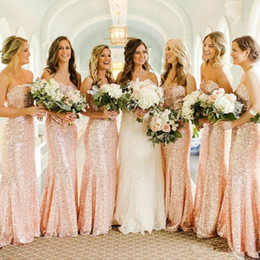 Rose Gold Sequins Mermaid Bridesmaid Dresses 2019 Cheap Custom Made Sweetheart Long Wedding Guest Dress Evening Party Gowns