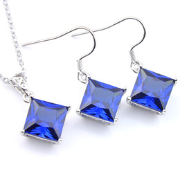 Luckyshine Fashion Bridal Jewelry Set Wholesale Elegant Square Dark Blue Cubic Zirconia 925 Silver Vintage charms and pendants Earring Jewe