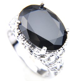 Luckyshine Black Oval Women Crystal Zircon Ring Silver Fashion Vintage Rings Jewelry NEW