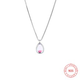 Europe popular woman's 925 sterling silver pendant necklace with glass stone China best prices New Style teardrop jewelry wholesale