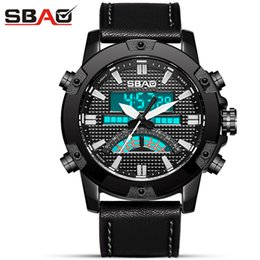 Outdoor Men Military Sports quartz Digital Watches Dual Display male fashion Electronic Watch leather Alarm clock