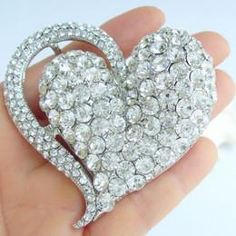 Charming Bridal Love Heart Brooch Pin w Clear Rhinestone Crystals EE04817C1