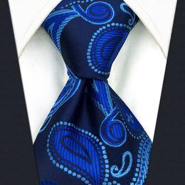 P10 Paisley Navy Dark Blue Mens Neckties Ties 100% Silk Jacquard Woven Suit Gift For Men