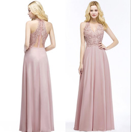 New V Neck Lace Appliqued Pearls Long Prom Dresses Cheap Chiffon Floor Length Bridesmaid Party Wear CPS912