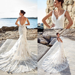 Elegant Mermaid Summer Beach Wedding Dresses 2019 V Neck Full Lace Chapel Train Wedding Bridal Gowns Custom Made Vestidos De Noiva BC0531