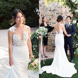 Country Mermaid Wedding Dresses Top Illusion Bodice Appliques Sweep Train Garden Bridal Gowns Vestidos De Noiva Cheap Wedding Dress
