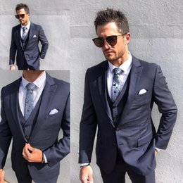 2019 Men Wedding Suits Fit Two Buttons Three Pieces with Pants Vest Jacket Tuxedos Fashion Groom Business Career Suits