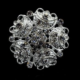 """1.3"""" Sparkly Silver Tone Full Rhinestone Crystal Diamante Small Flower Brooch Wedding Prom Party Corsages and Pins"""