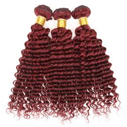 Best Quality Peruvian Deep Curly Wave Hair Burgundy Weaves 99j Peruvian Virgin Remy Human Hair Extensions Peruvian Deep Curly hair Bundle