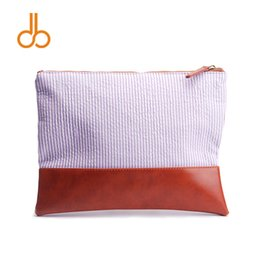 Wholesale Blanks Seersucker and PU faux Leather Patchwork Cosmetic Bag Clutch with Zipper Closure with Free Shipping DOM103284