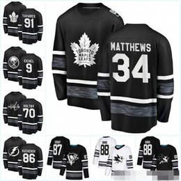 Mens 2019 All Star Game White Jersey 88 Brent Burns 97 Connor McDavid 34 Auston Matthews 29 Marc-Andre Fleury 9 Evander Kane Hockey Jerseys