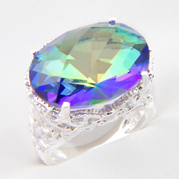 Luckyshine 6 Pcs Vintage Silver 925 Queen Fancy Natural Mystic Topaz Round Ring best for Valentine's Day ---Free shipping