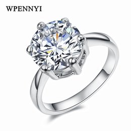 Top Quality Super 3.5ct Engagement Rings Silver Color 10mm Sparkling Clear Cubic Zirconia 6 Prong Woman Wedding Ring Wholesale
