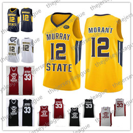 2019 Murray State Racers #12 Ja Morant Navy Yellow Lower Merion High School #33 Bryant White Black Red Vintage NCAA Basketball Jersey