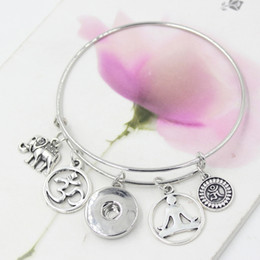 Wholesale New Interchangeable DIY Snap Jewelry Inspired Girl Elephant Yoga Charm Bracelets Bangle Jewelry Gift