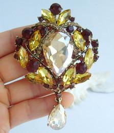 Pretty Drip Drop Flower Brooch Pin Topaz Rhinestone Crystals EE04082C4