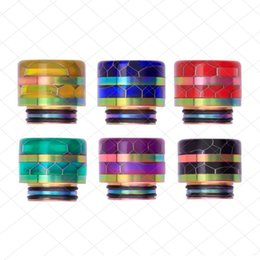 DHL Free 810 Thread Epoxy Resin Snake Skin Grid Wave SS Rainbow Wide Bore Drip Tip Mouthpiece Vape for TFV8 TFV12 Prince