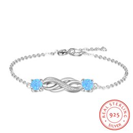 2019 New S925 sterling silver bracelet with synthetic opal blue Opal adjustable endless eternal love bracelet jewelry factory direct selling