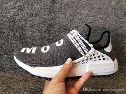f9507abe54e4d 2018 Wholesale Pharrell Williams Human Race Tennis Hu trail Sports Casual  Shoes Men Women Yellow Black Red Runner Sneaker Shoes Size 46 47