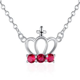 Best gift women's lmperial crown pendant necklace red gemstone sterling silver plated necklace STSN614,hot sale fashion 925 silver necklace